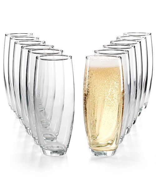 Martha Stewart Collection 12-Pc. Stemless Flutes Set, Created for Macy's