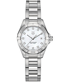 TAG Heuer Women's Swiss Aquaracer Diamond Accent Stainless Steel Bracelet Watch 27mm WAY1413.BA0920