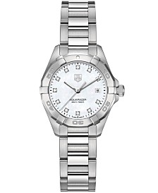 TAG Heuer Women's Swiss Aquaracer Diamond Accent Stainless Steel Bracelet Watch 27mm