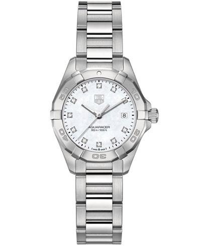 TAG Heuer Women's Swiss Aquaracer Diamond Accent Stainless Steel Bracelet Watch 27mm WAY1413.BA0920
