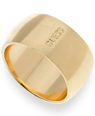 GUESS Gold-Tone Logo Wide Band Ring