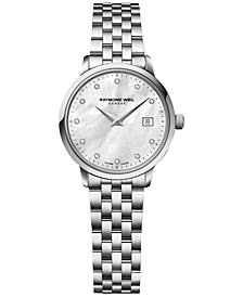 RAYMOND WEIL Women's Swiss Toccata Diamond Accent Stainless Steel Bracelet Watch 29mm 5988-ST-97081