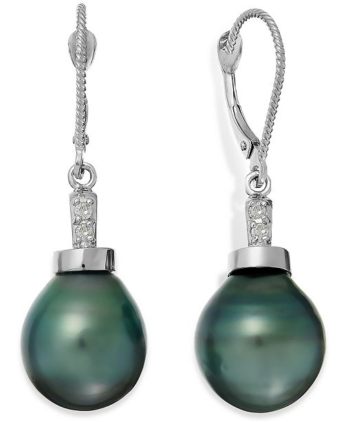 Macy's Baroque Tahitian Pearl (11mm) and Diamond Accent Drop Earring in 14k White Gold