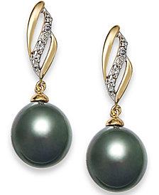 Tahitian Pearl (9 mm) with Diamond (1/10 ct. t.w.) Drop Earrings in 14k Gold