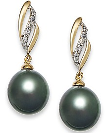 Tahitian Pearl (9 mm) with Diamond (1/10 ct. t.w.) Drop Earrings in 14k Gold