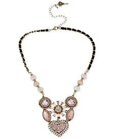 Gold-Tone Crystal Gem Cluster Frontal Necklace