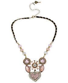 Betsey Johnson Gold-Tone Crystal Gem Cluster Frontal Necklace