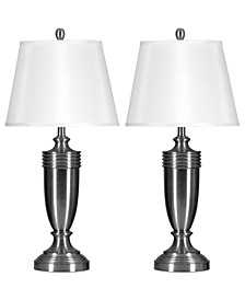 Set of 2 Brushed Steel Table Lamps