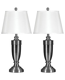 StyleCraft Set of 2 Brushed Steel Table Lamps