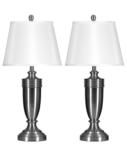 Stylecraft set of 2 brushed steel table lamps lighting lamps main image main image aloadofball Image collections