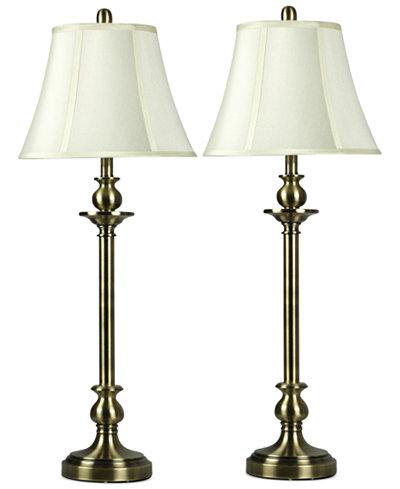 Stylecraft Set Of 2 Antique Brass Buffet Table Lamps