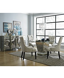 "Marais Dining Room 5 Piece Set (60"" Mirrored Dining Table and 4 Side Chairs)"