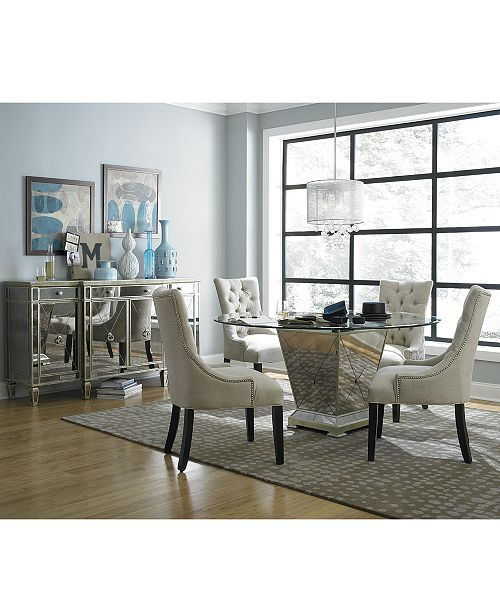 Marais Dining Room Furniture, 5 Piece Set (60 Mirrored Dining Table and 4  Side Chairs)