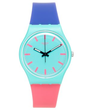 SWATCH Unisex Swiss Shunbukin Blue And Pink Silicone Strap Watch 34Mm Gg215