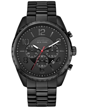 Caravelle New York by Bulova Men's Chronograph Black-Tone Stainless Steel Bracelet Watch 44mm 45B122