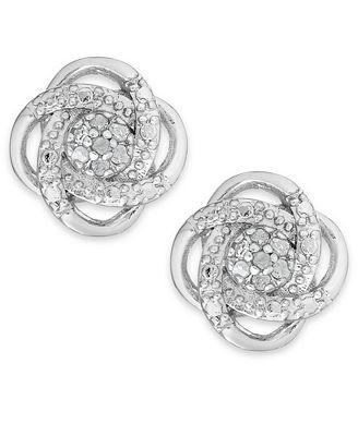 Macy S Diamond Love Knot Stud Earrings In Sterling Silver Or 18k