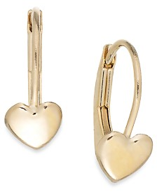 Children's Heart Hoop Earrings in 14k Gold, 2mm
