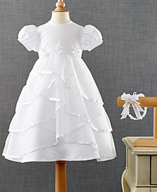 Baby Girls Headband & Crisscross Christening Dress Set