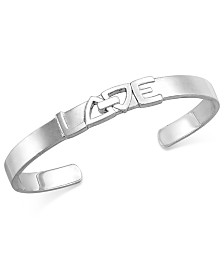 Proposition Love Cutout Love is Love Cuff Bracelet in Sterling Silver