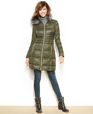 Bcbgeneration Packable Faux Fur Trim Hooded Down Puffer