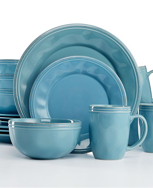 Rachael Ray Cucina Agave Blue 16-Pc. Set, Service for 4 - Dinnerware ...