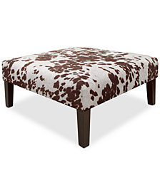 Millbrae Udder Maddness Fabric Cocktail Ottoman, Quick Ship