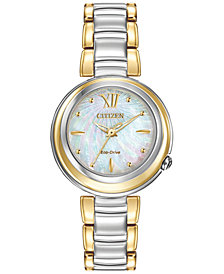Citizen Women's Eco-Drive L Series Sunrise Two-Tone Stainless Steel Bracelet Watch 30mm EM0337-56D