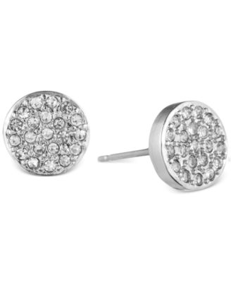 Image of Anne Klein Crystal Pavé Button Stud Earrings