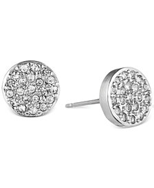 Anne Klein Crystal Pavé Button Stud Earrings