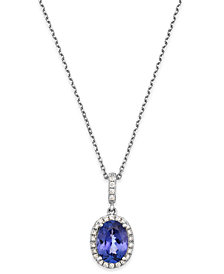 Tanzanite (1-3/8 ct. t.w.) and Diamond (1/8 ct. t.w.) Oval Pendant Necklace in 14k White Gold