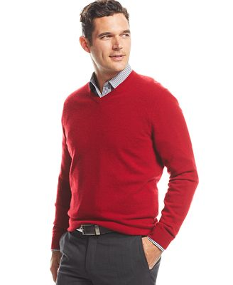 Club Room Big and Tall Cashmere V-Neck Sweater - Sweaters - Men ...