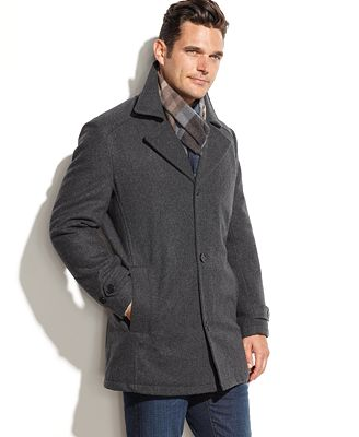 London Fog Bolton Wool-Blend Car Coat with Scarf - Coats & Jackets