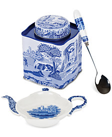 Spode Blue Italian Scenic 3 Piece Tea Set