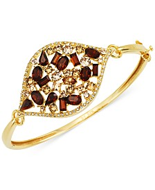 Simone I. Smith Multi-Crystal Marquise Bangle Bracelet in 18k Gold over Sterling Silver