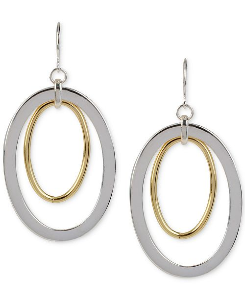 Hint of Gold Oval Drop Earrings in Silver-Plated and 14k Gold-Plated Metal