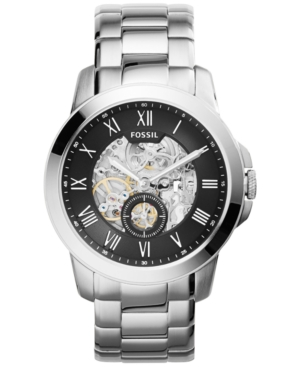 Fossil Men's Automatic Grant Stainless Steel Bracelet Watch 44mm ME3055