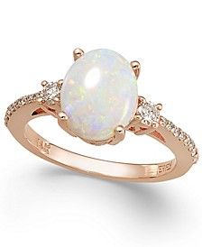 Aurora by EFFY® Opal (1-3/8 ct. t.w.) and Diamond (1/4 ct. t.w.) Oval Ring in 14k Rose Gold