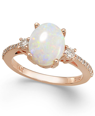 Aurora by EFFY Opal (1-3/8 ct. t.w.) and Diamond (1/4 ct. t.w.) Oval Ring in 14k Rose Gold