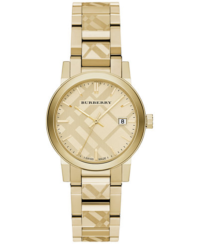 Burberry women 39 s swiss gold ion plated stainless steel bracelet watch 34mm bu9145 watches for Burberry watches