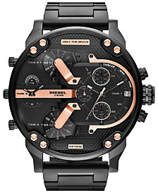Diesel Men's Mr. Daddy 2.0 Black Ion-Plated Stainless Steel Bracelet Watch 66x57mm DZ7312