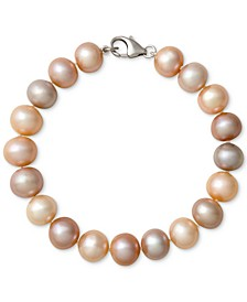 Multi-Color Cultured Freshwater Pearl Bracelet in Sterling Silver (9-1/2mm)