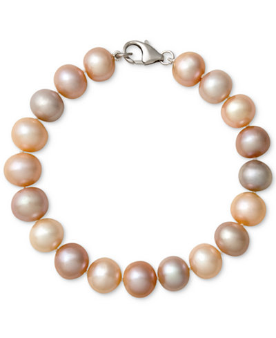 Belle de Mer Multi-Color Cultured Freshwater Pearl Bracelet in Sterling Silver (9-1/2mm)