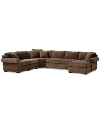 Trevor Fabric 5 Piece Chaise Sectional Sofa