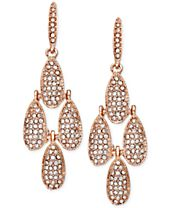 INC International Concepts Rose Gold-Tone Crystal Pavé Small Teardrop Chandelier Earrings
