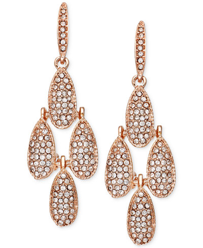 INC International Concepts Rose GoldTone Crystal Pav Small – Gold Tone Chandelier Earrings
