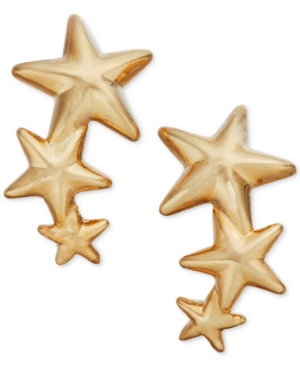 Triple Star Stud Crawler Earrings in 14k Gold