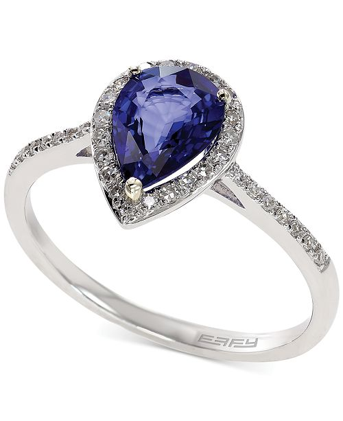 EFFY Collection Royale Bleu by EFFY Diffused Sapphire (1 ct. t.w.) and Diamond (1/6 ct. t.w.) Pear Ring in 14k White Gold, Created for Macy's