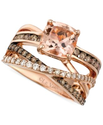 Le Vian Peach Morganite 134 ct tw and Diamond 34 ct tw