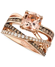 Peach Morganite (1-3/4 ct. t.w.) and Diamond (3/4 ct. t.w.) Ring in 14k Rose Gold