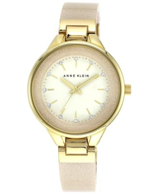 Image of Anne Klein Women's Cream Glitter Bangle Bracelet Watch 36mm AK/1408CRCR